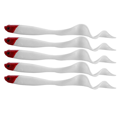 VGEBY Fishing Curly Tail Lures Tackle Bait Kit Plastic Fishing Tackle for Freshwater Pack of 5 (Color : Red Head)