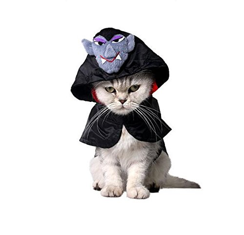 Blue Stones Black Polyester Halloween Cat Cloak Pet Rabbit Small Dog Cape Scottish Fold Cosplay Clothing Cats Products S M -