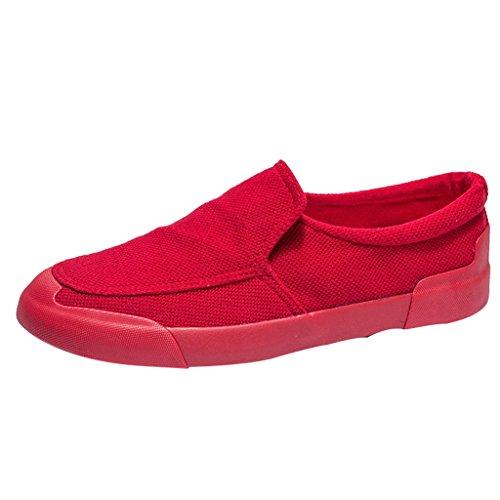 YaNanHome Espadrilles Sommer Neue Stil Canvas Schuhe Herren Freizeitschuhe Jugend Pole Fashion Board Schuhe (Color : Red  Size : 43) Red