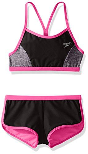 Speedo Girls Heather Splice Boyshort Two Piece Swim Shorts Bikini Set, Black, Size 10 (Piece Swimsuit Speedo Two)