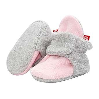 Zutano Double Layer Fleece Baby Booties, Baby Pink/Gray Heather, 3 Months