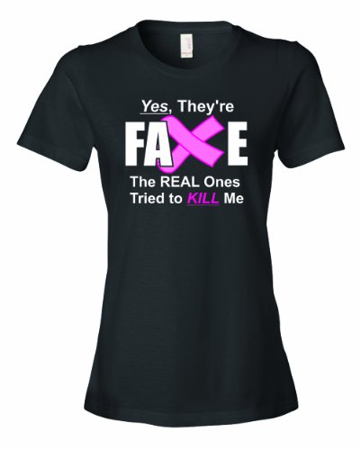 Theyre Not Fake (Ladies Yes They're Fake. Breast Cancer Survivor. T-Shirt-Black-Large)
