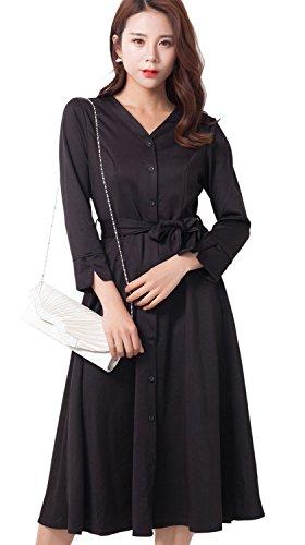 (リザウンド)ReSOUND レディース シャツ ワンピース サッシュベルト 七分袖 前ボタン ドレス 409