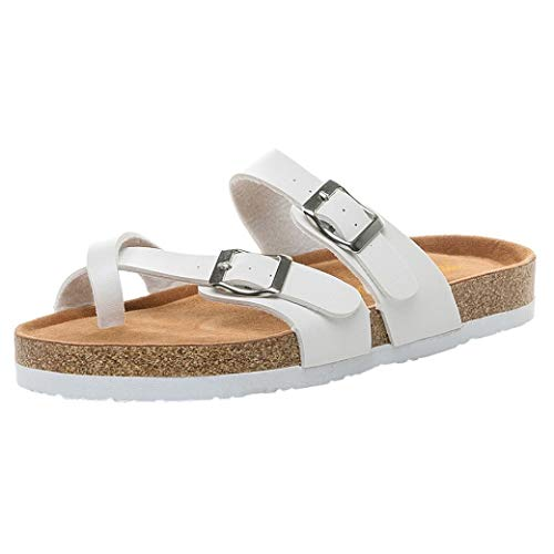 FORUU Womens Cross Toe Strap Flat Sandals Beach Shoes Thick-Soled Cork Slippers (Sell Nike Jordan Shoes)