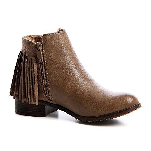 topschuhe24 671Femme Bottines pour femme Chelsea Boots Khaki Braun Oi4sT