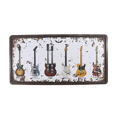 SIGNT The Music Guitar Retro Vintage Tin Sign Novelty Poster Plaque Living Room Bedroom Bar Home Wall Decor for Thanksgiving Gifts Size 6X12 Inches