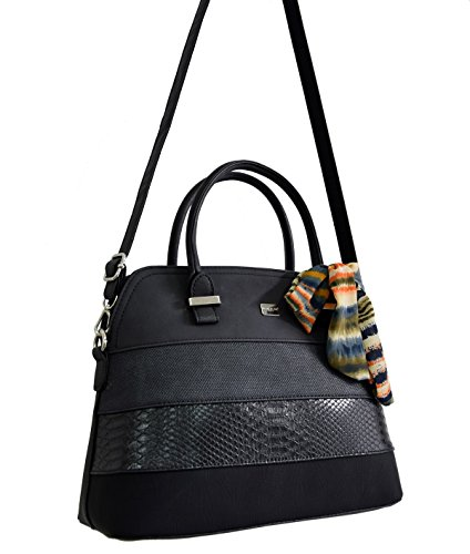 Classic Style Bowling Satchel Handbag Rigid Leather Ladies Women Scarf Bag Bugatti Taupe Multicolor Black Croco Snake David Shoulder Handle Top Faux Brown City Elegant Jones Nubuck Bag Bag Stripes n6gxX4