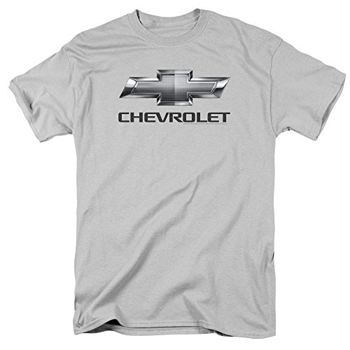 (Chevrolet Automobiles Chevy Classic Bowtie Logo On Silver Adult T-Shirt Tee)
