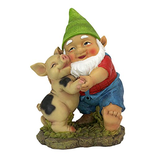 Design Toscano QL30777 Happy as a Pig in Slop Garden Gnome Statue, One Size, Full Color ()