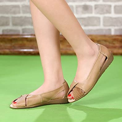 YFF Plus Size (35-43) Echt Leder Sandalen Frauen Sommer Open toe flache Sandalen crystal Schuhe Keile Casual Plattform Frauen Sandale, schwarz, 8.
