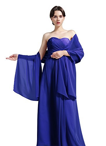 Chiffon Satin Wrap - Sheer Soft Chiffon Bridal Women's Shawl For Special Occasions Ture Royal Blue