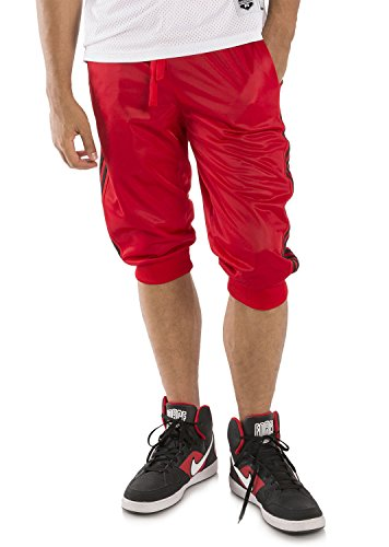Vibes Gold Label Mens Red Tricot Jogger 18 Capri Short Black 4 Stripes Side Seams