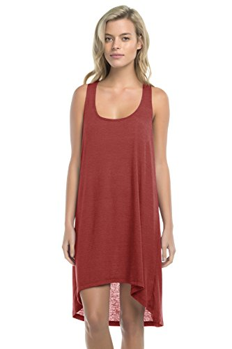 Lucky Brand Women's Natural Fever High-Low Cover Up Dress with Crochet Back, Terracotta, Small
