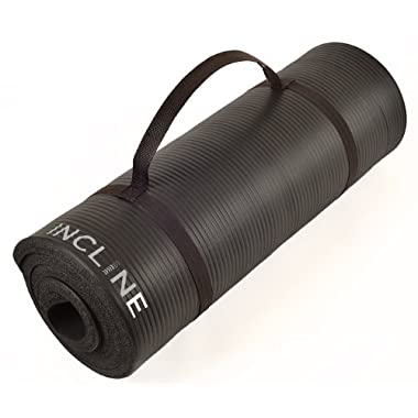 Incline Fit Extra Thick and Long Comfort Foam Yoga/Exercise Mat with Carrying Strap, Onyx