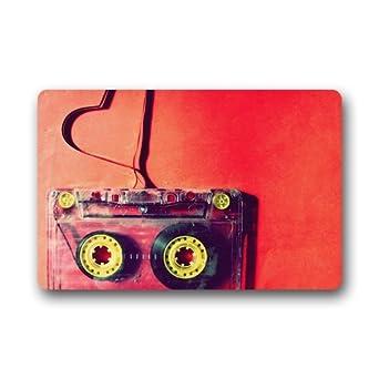 Custom lavable Felpudo Vintage cinta de casete amor decoración de interior/al aire libre alfombra