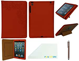 P&Q Estore Top Quality Soft PU Leather Elegant Case Cover for Ipad Mini Ipad Mini 2with Sleeping/Standing Function/Card Slot + 1 X Premium Stylus Pen + 1 X P&Q Miscrofiber Cleaning Cloth In Retail Packaging (Orange)