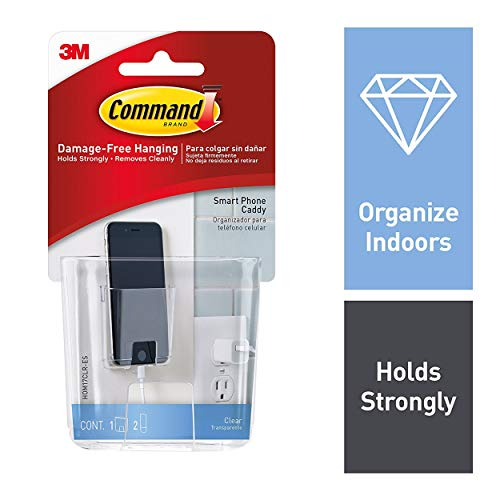 (Command Cell Phone Caddy, 1 caddy, 2 strips, Station, Organize Damage-Free, Indoor Use (HOM17CLR-ES))