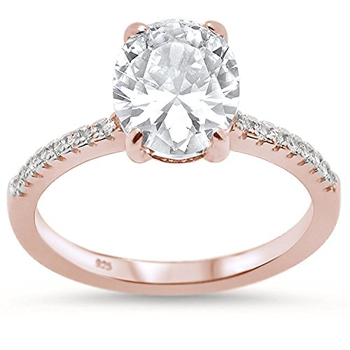 Oxford Diamond Co Sterling Silver Rose Gold Plated Oval Cut Cubic Zirconia Engagement Ring Sizes 10