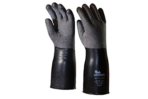 Guardian CP-7R Butyl Coated Rough-Grip Short Glove 7 Mil Size Large (1 Pair) Made in USA!