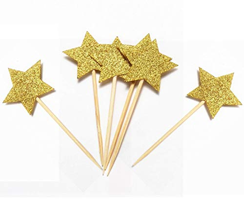 Set of 48pcs Twinkle Twinkle Little Star Cupcake Toppers Glitter Gold Party Cake Decorations DIY Glitter Mini Birthday Cake Christmas Day Supplies ()