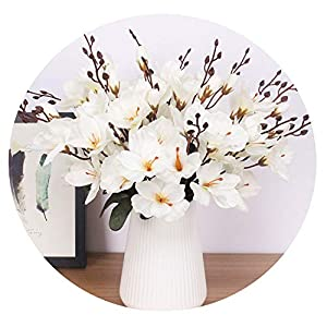 Zalin rtificial Silk 5 Branch Magnolia Home Hotel Table Decoration Fake Flower Wedding Bride Holding Photography Props 60