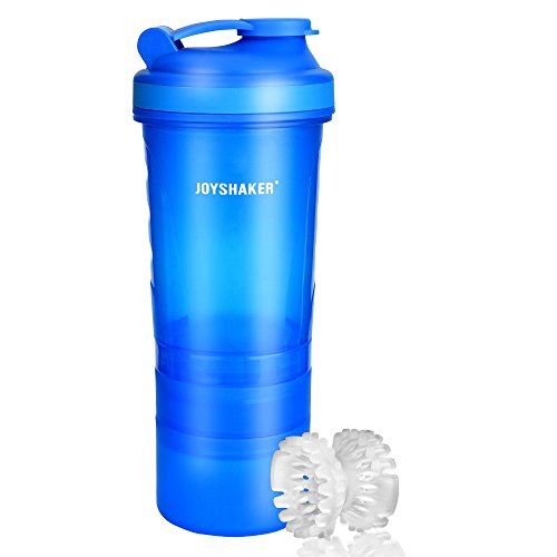 Joyshaker BPA Free Sports Gym Water Bottle with Storage Food Grade Safe Plastic Protein Shaker Bottle Leak Proof Reusable Insulated Sports Drinking Bottle with Blender for Adults Fitness FDA 26 oz