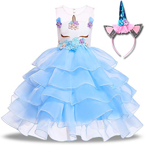 Girls Unicorn Dress Kids Princess Tutu Costume Flowers Unicorn with Headband Sleeveless Pageant Cosplay Birthday Party (6 Years(Tag 130), A- Sky Blue) ()