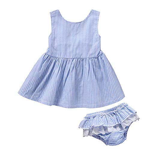 Newborn Toddler Kids Baby Girls Summer Outfits Holiday Stripe Mini Dress Tops Shorts 2Pcs Clothes Sunsuit Set 0-24M (Blue, 0-3 Months)