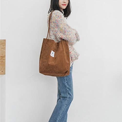 birl019 Women Corduroy Tote Ladies Casual Shoulder Bag Foldable Reusable Shopping Beach Bag