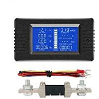 50A 100A 200A 300A LCD Display DC Battery Monitor Meter 200V Voltmeter Amp For Car RV Solar System (50A)