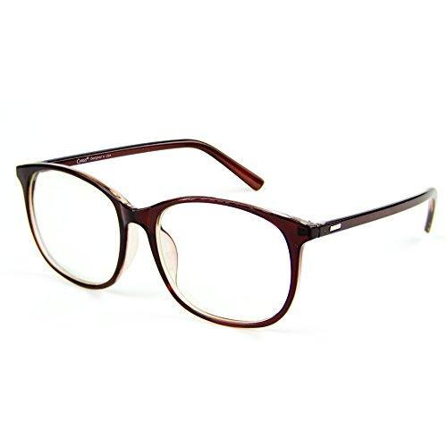 Cyxus Blue Light Blocking [Lightweight TR90] Glasses for Anti Eye Strain Headache Computer Use Eyewear, Men/Women (8121T29,Tea Brown)