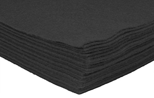Acrylic Craft Felt Black Felt Sheets 9''x12'' for Kids, Children, Adults, School DIY Art Classes- 24 PC Black Felt Pack by HipGirl