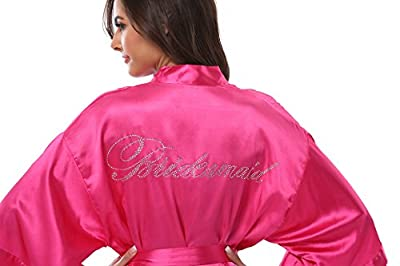VogueBridal Women's Satin Rhinestone Short Wedding Kimono Robe