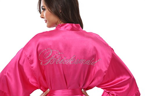 VogueBridal Women's Satin Rhinestone Short Wedding Kimono Robe For Bridesmaid, Rose S