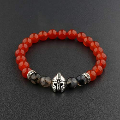 Mikash 8mm Mens Black Lava Stone Spartan Helmet Beaded Gold Silver Bracelets Cheapest | Model BRCLT - 37824 |