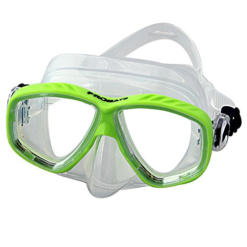 Promate Different Nearsight Optical Corrective Lenses on Each Side Snorkel Mask, Green