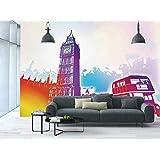 Large Wall Mural Sticker [ London,Historical Big Ben and Bus Great Bell Clock Tower UK Europe Street Landmark,Purple Red Yellow ] Self-adhesive Vinyl Wallpaper / Removable Modern Decorating Wall Art