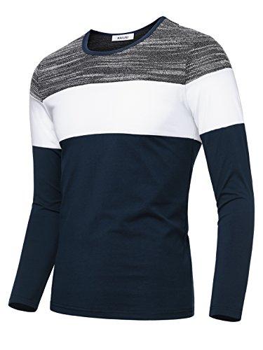KAIUSI Men's Contrast Color Crew Neck Long Sleeve Casual T-shirt Top