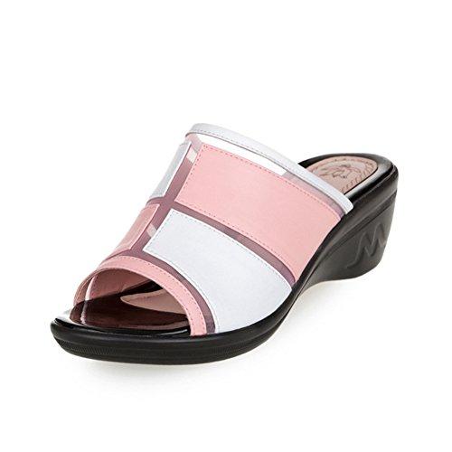 Sandali Con Zeppa Moda Per Donna Estate Impermeabile Antiscivolo Piattaforma Scorrevole Rosa