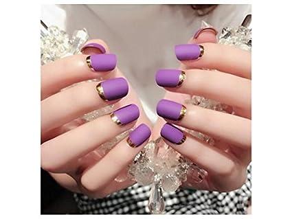 SOPOUITRO El estilo francés de Lady Womens DIY Manicure Art Tips uñas postizas (púrpura)