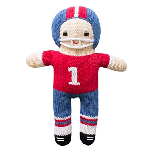 - Zubels Baby Boys' Hand-Knit Football Player Plush Toy, All-Natural Fibers, Eco-Friendly, 12-Inch, Red & Royal Blue