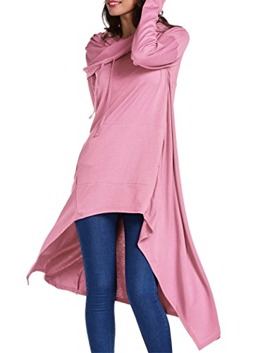 onlypuff Women's Pullover Hoodie Asymmetric Hem Sweatshirts Tunic Tops For Women Solid Color Dress (XX-Large, Pink) (Sweater Pullover Slip)