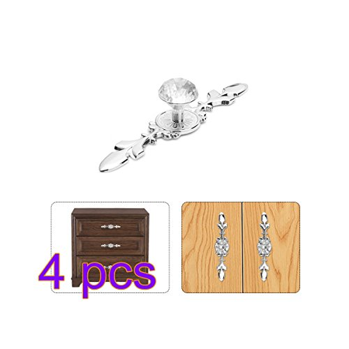 Knobs, DDSKY Diamond Crystal Knobs with Plate for Kitchen Door Cupboard Wardrobe Drawer Furniture Decoration Pack of 4 (Small) (Drawer Plate)
