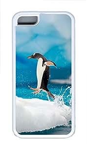 iPhone 5C Case Penguin Jumping TPU iPhone 5C Case Cover White