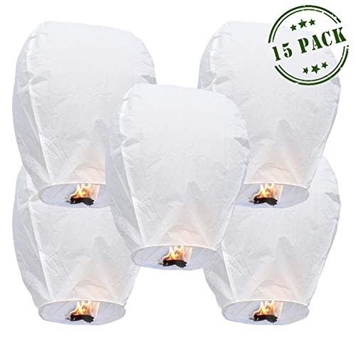 Fly Paper Candle Lantern (15-pack) - Lanterns To Release In Sky   All Natural & Environmentally Safe   Anniversary Wishlantern   Wishlanterns Party Light Celebration w/ Marker Pen - By Luma Lanterns