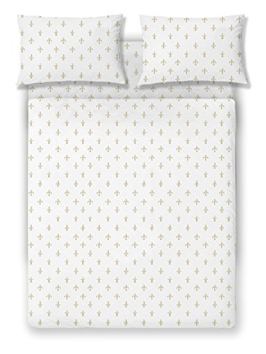 Brielle Fashion 100% Cotton Jersey Sheet Set, Queen, Fleur De Lis Gold