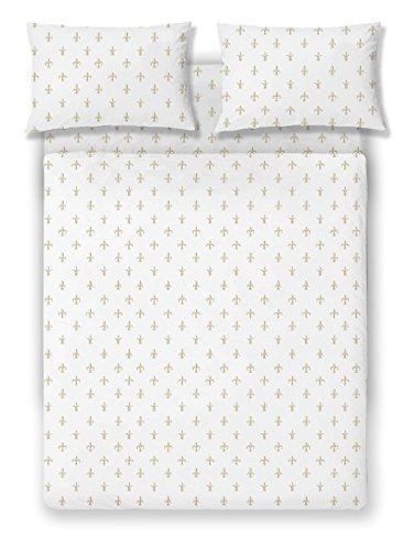 Brielle Fashion 100% Cotton Jersey Sheet Set, Queen, Fleur De Lis Gold (Sconces De Fleur Lis)