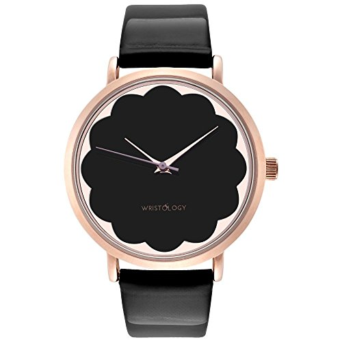 Scalloped Face (WRISTOLOGY Olivia Womens Scalloped Rose Gold Boyfriend Watch Black Leather Strap)