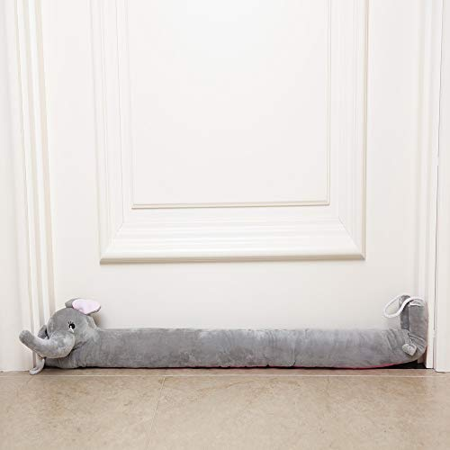 "TRUEDAYS 37"" Under Door Draft Stopper Elephant Heavy Duty Seal Door Window Noise Air Stopper with Hanging Cord-Keep Heat or Cool Air Indoors"