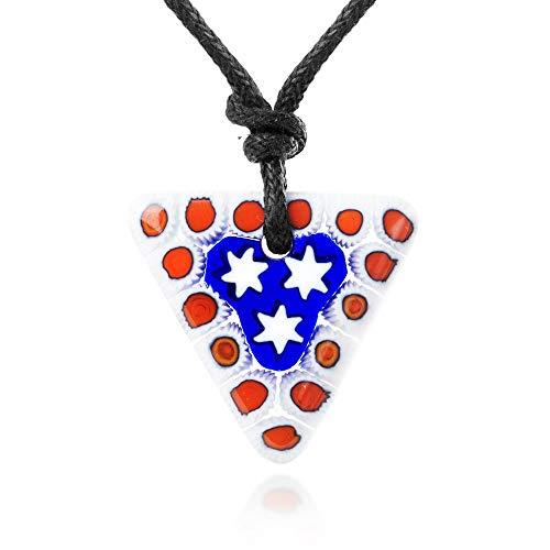 Chuvora Millefiori Murano Glass Red Blue White Star Triangle Pendant 25 mm Adjustable Necklace 15